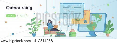Outsourcing Landing Page With People Characters. Remote Workforce Web Banner. Outsourcing Software D