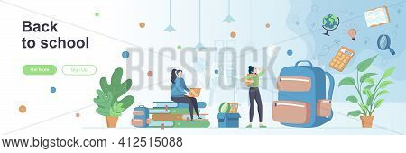 Back To School Landing Page With People Characters. Elementary And High Schools Education Web Banner