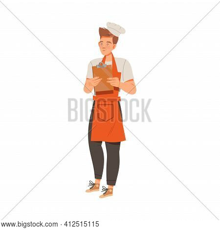 Young Man As Super Chef In Toque And Apron Standing With Lipboard Vector Illustration