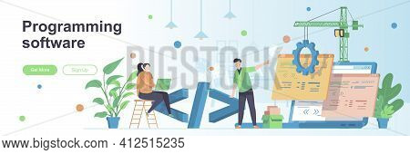 Programming Software Landing Page With People Characters. Programs Development Web Banner. Software