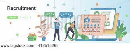 Recruitment Landing Page With People Characters. Headhunting Agency, Study Candidates Web Banner. St