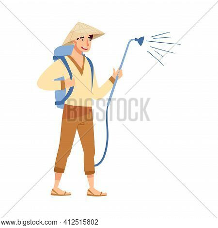 Vietnamese Man Farmer In Straw Conical Hat Watering Green Plants And Crops Vector Illustration