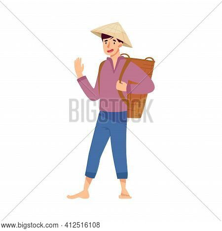 Vietnamese Man Farmer In Straw Conical Hat Carrying Wicker Basket On His Back And Waving Hand Vector