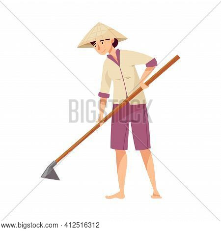 Vietnamese Woman Farmer In Straw Conical Hat Holding Hoe Cultivating Soil Vector Illustration