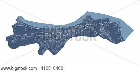 Muscat Map. Detailed Vector Map Of Muscat City Administrative Area. Cityscape Poster Metropolitan Ar