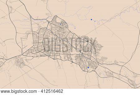 Vector Map Of Tabriz, Iran, State Of Iran. Street Map Poster Illustration. Tabriz Map Art.