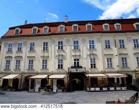 Bratislava, Slovakia - 10 Jun 2011: The Building In Bratislava, Slovakia