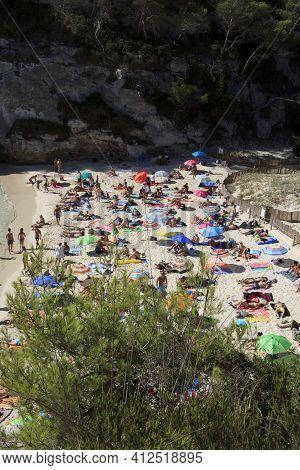 Macarelleta, Menorca / Spain - June 25, 2016: Cala Macarelleta Beach, Menorca, Balearic Islands, Spa