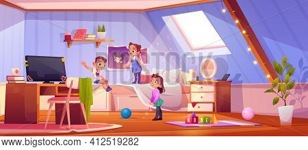 Kids Playing In Attic Room, Children At Home.