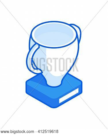 Winner Cup Isometric Icon Vector. White Trophy Winner Amphora With Two Handles On Blue Stand.