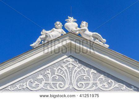 Top Of Baroque Portal At Herzogenburg Monastery Park, Austria