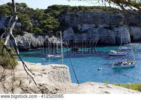 Macarelleta, Menorca / Spain - June 25, 2016: Cala Macarelleta Bay, Menorca, Balearic Islands, Spain