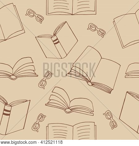 Books And Glasses Seamless Pattern. Hand Drawn Doodle Style. Vector, Minimalism, Sketch. Wallpaper,