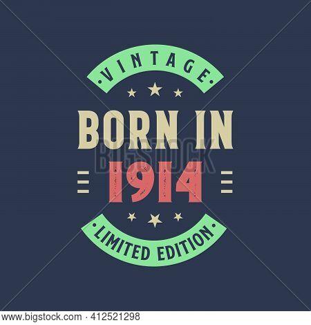 Vintage Born In 1914, Born In 1914 Retro Vintage Birthday Design