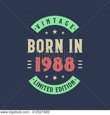 Vintage Born In 1988, Born In 1988 Retro Vintage Birthday Design