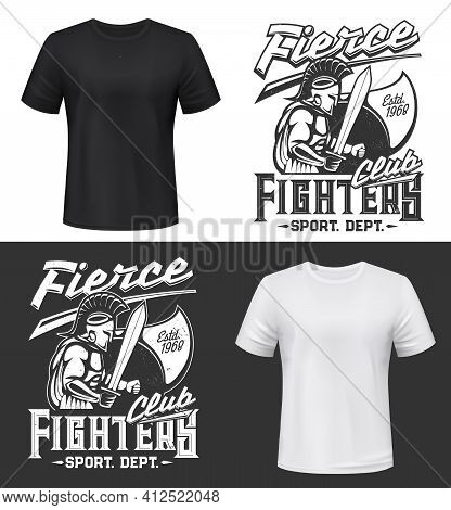 Gladiator Warrior Tshirt Print, Vector Fight Club Mascot. Apparel Mockup With Roman Or Greek Gladiat