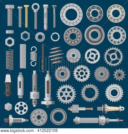 Bolts, Screws And Nuts Icons, Construction Nails, Rivets And Hardware Tools, Vector. Metal Mechanic