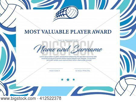Certificate For Volleyball Most Valuable Player Award, Tournament Participation Diploma Vector Templ