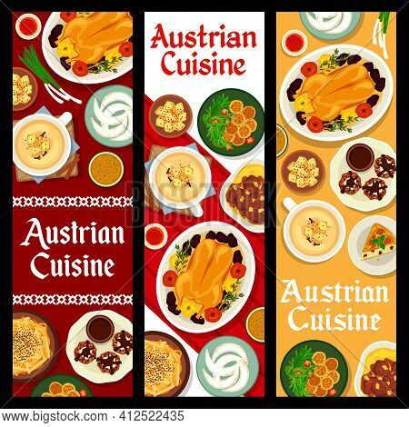 Austrian Cuisine Vector Beer Soup And Wheat Croutons, Potato Cheese Dumplings And Almond Pie. Baked