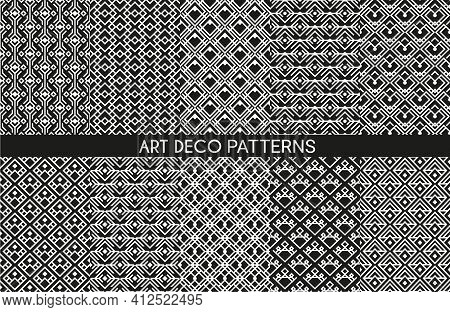 Art Deco Pattern Backgrounds, Geometric Vintage Seamless Abstract Wallpapers, Vector. Luxury Retro A