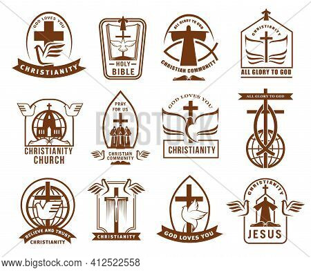 Christian Community, Church Or Mission Icons Set. Christianity Religion Emblems And Sings With Bible