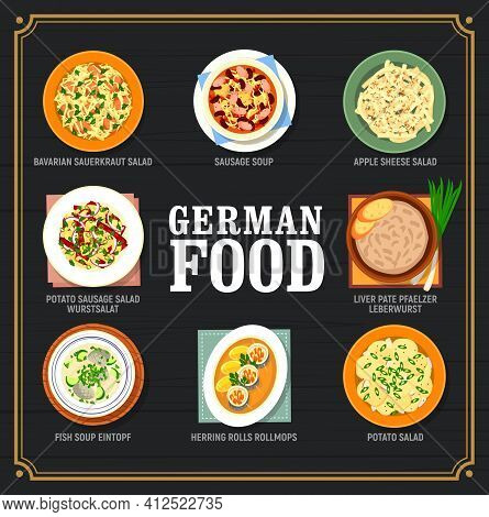 German Food And Germany Cuisine Dishes Menu, Vector Dinner And Lunch Meals. German Cuisine Tradition