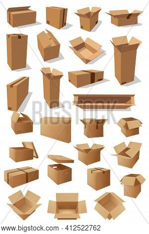 Carton Boxes, Vector Parcels For Goods Packaging Isolated Empty Transportation Cardboard Containers.
