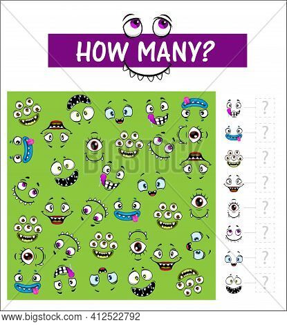 Kids Game Vector Riddle With Cartoon Funny Faces, How Many Monster Muzzles On Board. Educational Tas