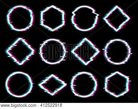Geometrical Figures Set With Glitch Effect. Circle, Square And Rhombus, Pentagon Shapes With Violet