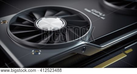 GPU Graphics card cooler close up. Modern gaming  graphics processing unit.  3d illustration