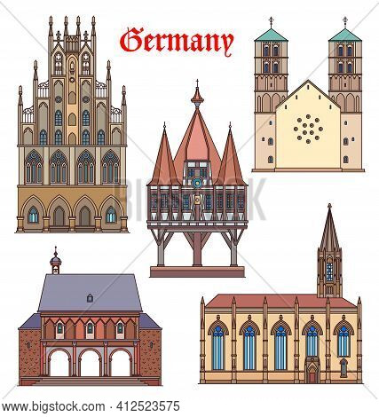 Germany Landmark Buildings, Cathedrals, German Travel Famous Architecture, Vector. St Lambert Cathol