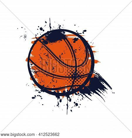 Basketball Ball With Grunge Spots Vector Icon, Sports Accessory, Equipment For Playing Game. Champio