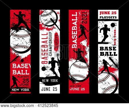 Baseball Championship Banners, Sport Game Playoff And Victory Cup Tournament, Vector. American Baseb