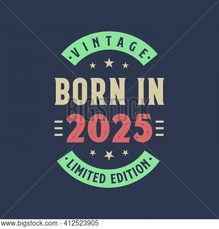 Vintage Born In 2025, Born In 2025 Retro Vintage Birthday Design