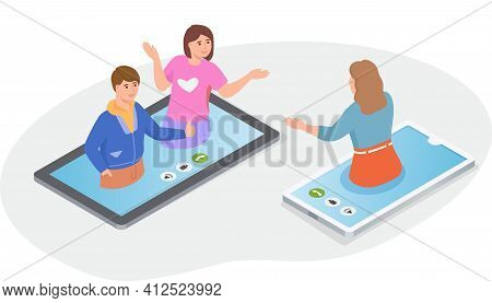 Video Call With Friend. People Communicating By Phone And Tablet. Online Conference, Virtual Meeting