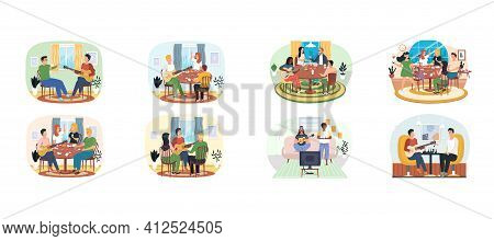 Set Of Illustrations Guitarists Entertaining People With Board Games. Rest And Pastime With Music