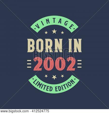 Vintage Born In 2002, Born In 2002 Retro Vintage Birthday Design