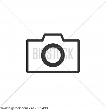 Camera Icon Symbol. Photograph Sign. Simple Flat Shape Logo. Black Outline Silhouette Isolated On Wh