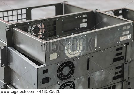 Audio Amplifier Enclosures At A Factory For The Production Of Acoustic Systems