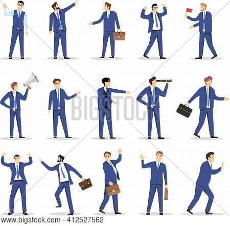 Men In Blue Business Suits On A White Background. Business Men Characters Set. Vector Illustration.