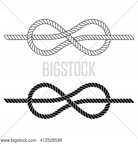 Braided Rope Is Tied In A Sea Knot, The Vector Rope Knot Made Of Lace Is A Symbol Of Cohesion, Close