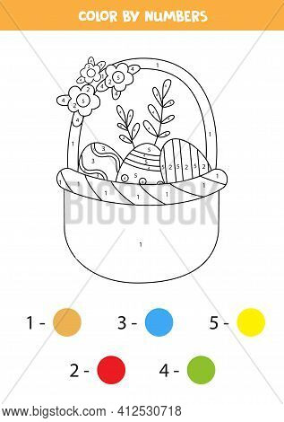 Coloring Page With Easter Basket Full Of Eggs. Color By Numbers. Math Game For Kids.
