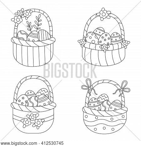 Coloring Page With Easter Baskets. Set Of Black And White Baskets Full Of Eggs.