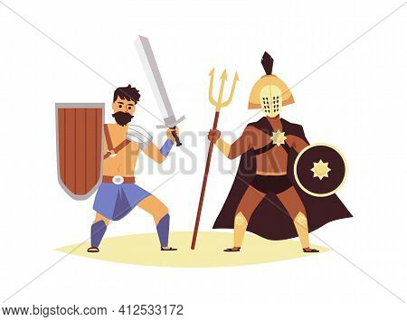 Roman Gladiator Fight - Two Men In Historic Warrior Costume Fighting