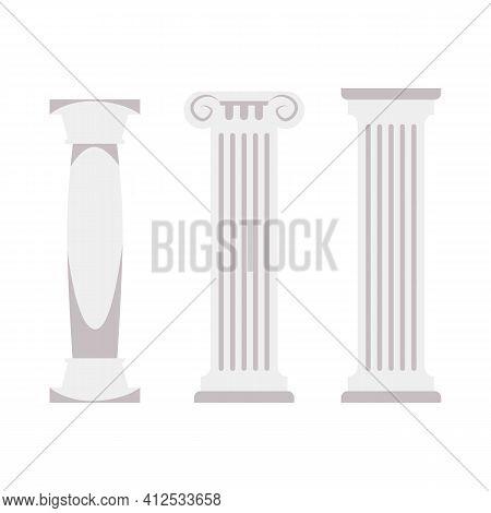 White Greek Column Set - Flat Marble Pillars From Roman Architecture