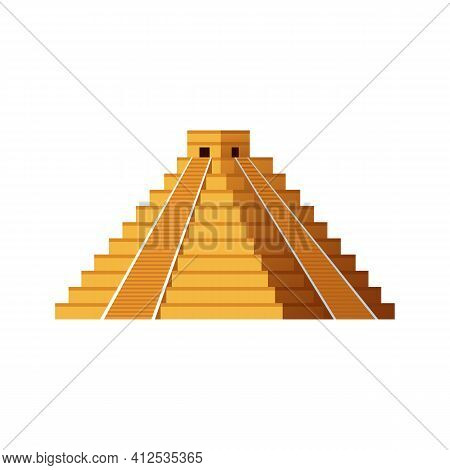 Ancient Mayan Pyramid - Yellow Mesoamerican Temple, Isolated