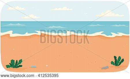 Coastline With Ocean At High Tide. Seascape With Salty Water On Seashore. Sea Covers Sandy Beach