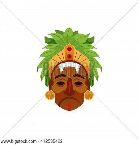 Maya Or Aztec Mask Isolated On White Background. Exotic Tribal Culture