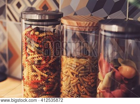 Pasta In Dry Food Storage Containers In The Kitchen, Pantry Organisation And Home Decor Idea