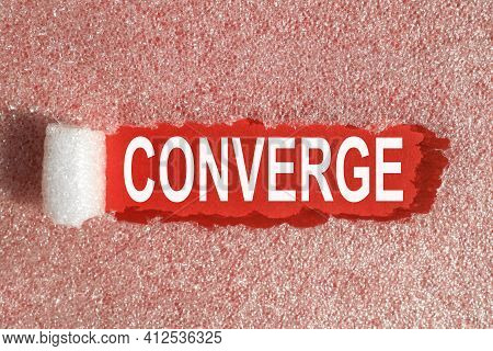 Converge. Text On A Red Background In White Letters